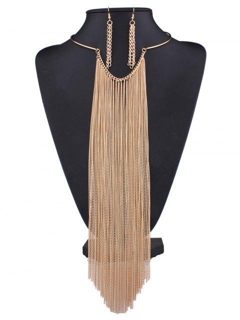 outfits Long Tasseled Necklace Set - GOLDEN  Mobile