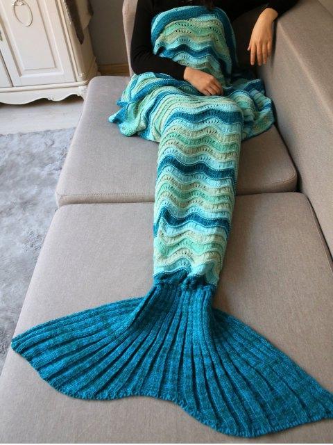 new Wave Striped Crochet Knit Mermaid Blanket Throw -   Mobile