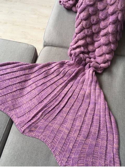 hot Fish Scale Knit Long Mermaid Blanket Throw - PINK  Mobile
