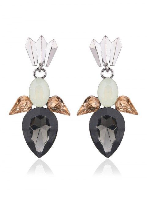 women Faux Gemtone Water Drop Earrings - BLACK  Mobile