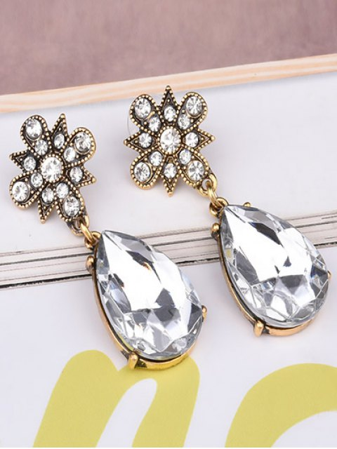 outfit Rhinestone Water Drop Floral Earrings -   Mobile