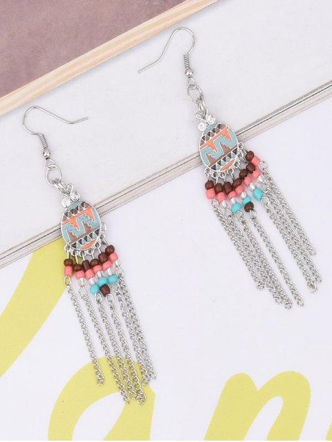 ladies Beads Chain Tassel Drop Earrings - GOLDEN  Mobile