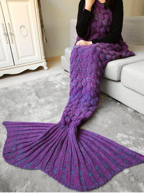 shops Fish Scale Crochet Mermaid Blanket Throw - PURPLE  Mobile