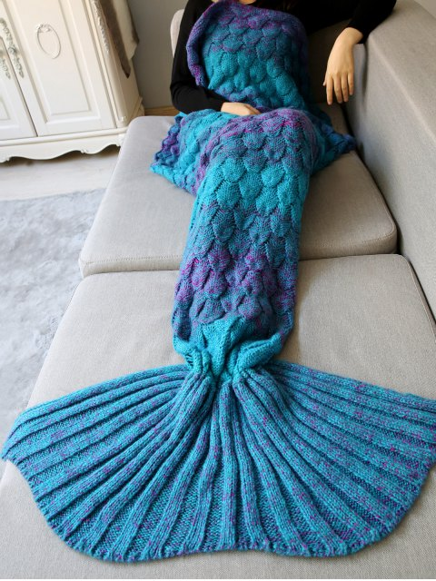 latest Fish Scale Crochet Mermaid Blanket Throw - TURQUOISE  Mobile