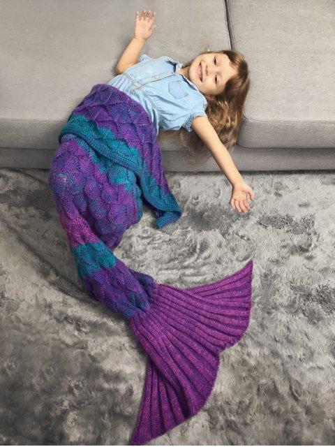 trendy Color Block Kids' Mermaid Blanket Throw - VIOLET ROSE  Mobile