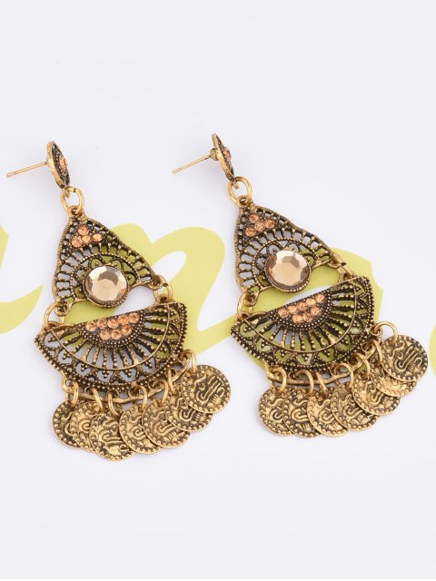unique Hollowed Geometry Coin Tassel Earrings - GOLDEN  Mobile