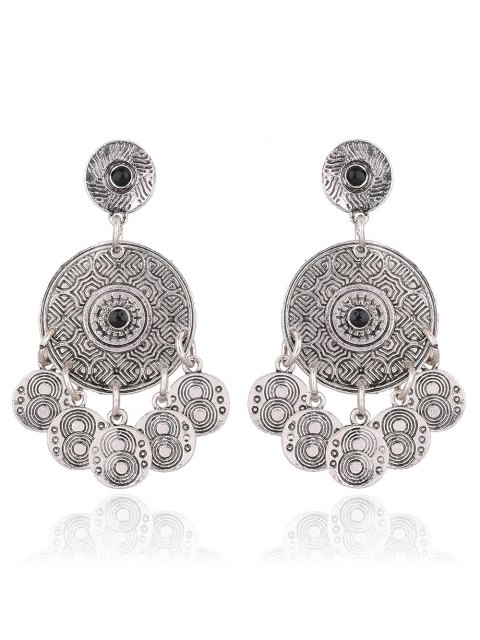 sale Coin Shape Tassel Drop Round Earrings -   Mobile