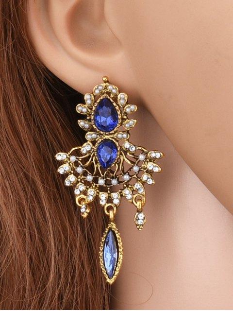 hot Water Drop Rhinestone Faux Peal Earrings - ROYAL  Mobile