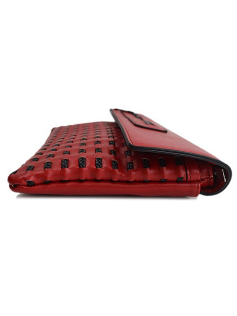 womens Cut Out Woven Clutch Bag - RED  Mobile
