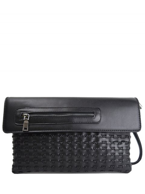 women Cut Out Woven Clutch Bag - BLACK  Mobile