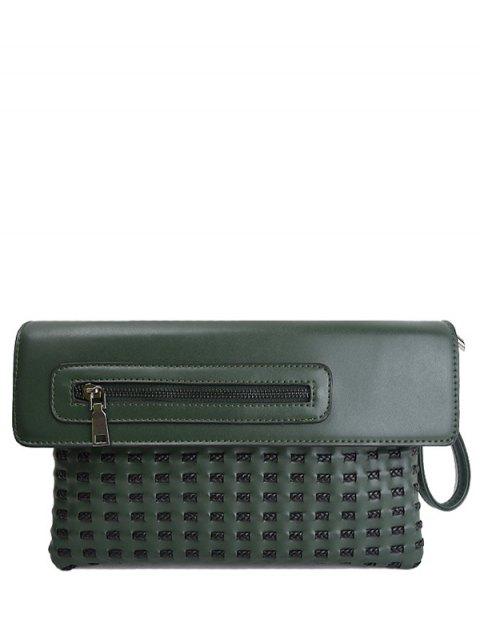 women's Cut Out Woven Clutch Bag - GREEN  Mobile
