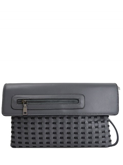 ladies Cut Out Woven Clutch Bag - GRAY  Mobile