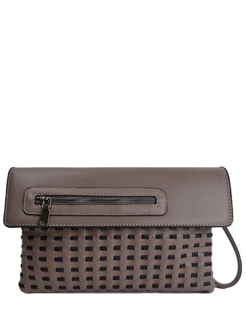 lady Cut Out Woven Clutch Bag - DARK KHAKI  Mobile