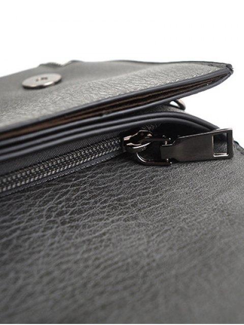 best Zips Embellished Clutch Bag - DEEP GRAY  Mobile