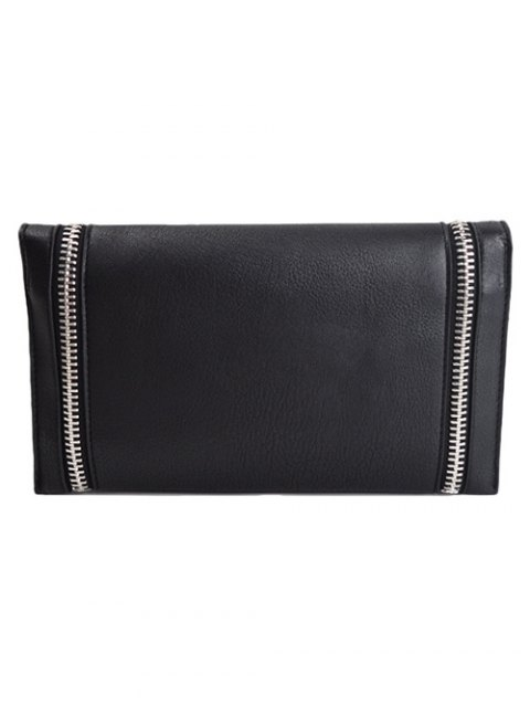 new Zips Embellished Clutch Bag - BLACK  Mobile