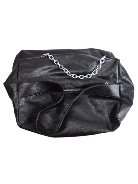 outfit Chains Slouch Shoulder Bag - BLACK  Mobile