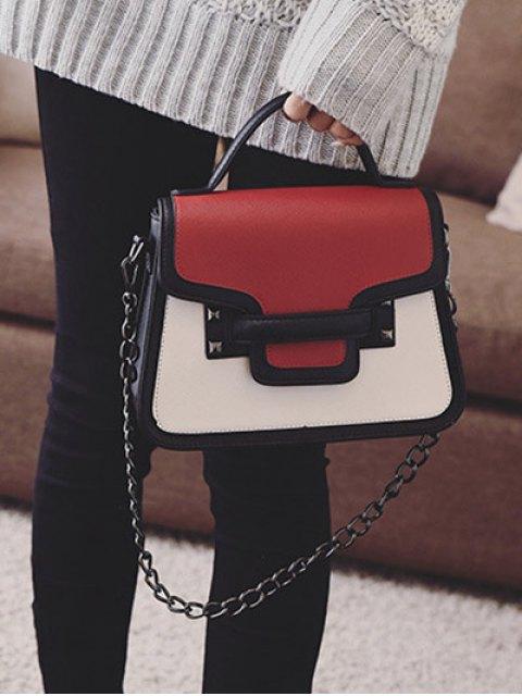 shops Chains Color Block Handbag - RED  Mobile