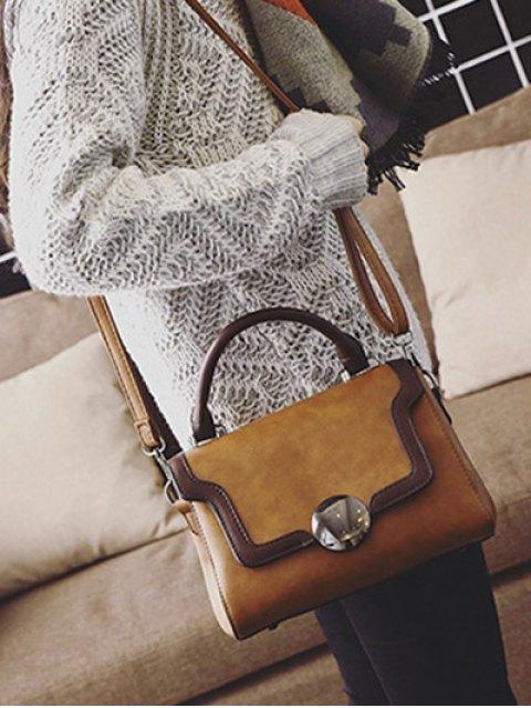 latest Color Panel PU Leather Handbag - BROWN  Mobile