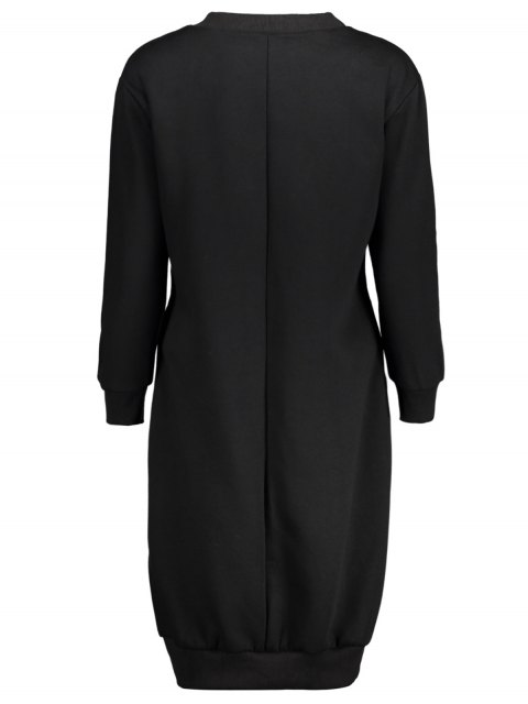 hot Casual Long Sleeve Letter Midi Dress - BLACK XL Mobile