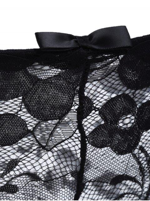 fashion Floral Applique Lace Bra Set - BLACK 70C Mobile