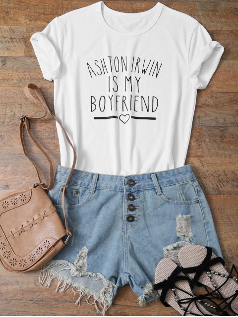 buy Short Sleeve Funny Letter Tee - WHITE S Mobile