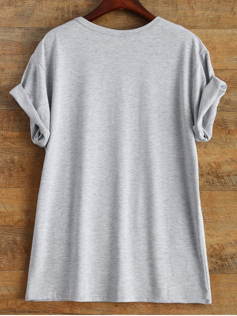 hot Short Sleeve Letter Print Unisex T-Shirt - GRAY XL Mobile