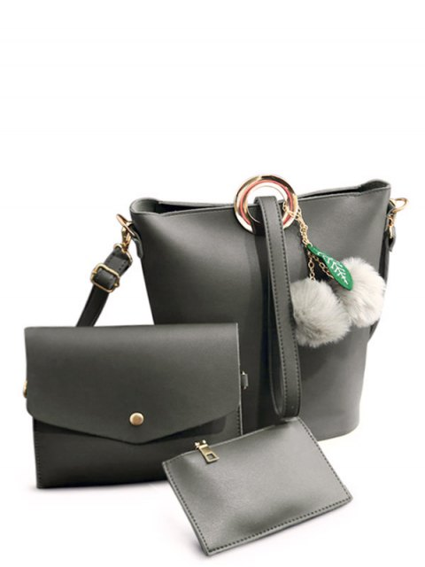 womens Pompon Metal Ring Crossbody Bag - GRAY  Mobile