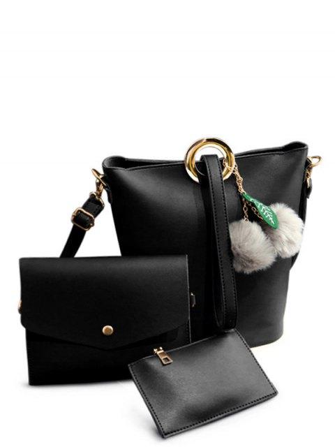 sale Pompon Metal Ring Crossbody Bag - BLACK  Mobile