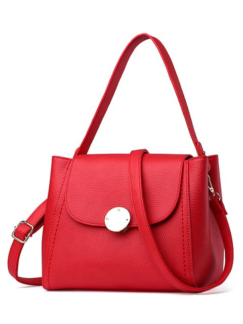 women's Flap Metal Embellished Shoulder Bag - RED  Mobile