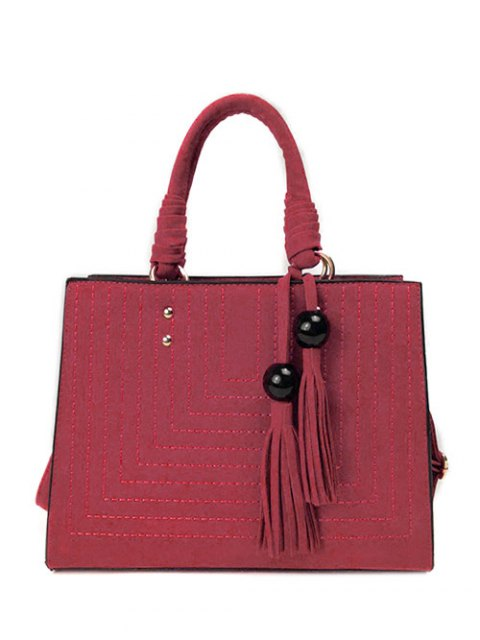 new Stitching Suede Tassel Handbag - WINE RED  Mobile