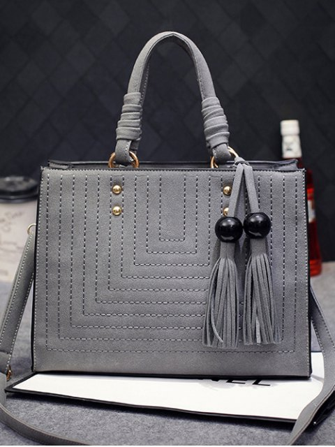 outfits Stitching Suede Tassel Handbag - GRAY  Mobile