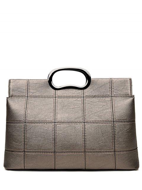 shops Grid Stitching PU Leather Handbag - SILVER GRAY  Mobile