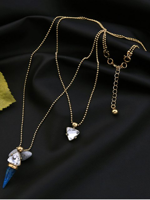 sale Faux Gem Triangle Layered Necklace - GOLDEN  Mobile