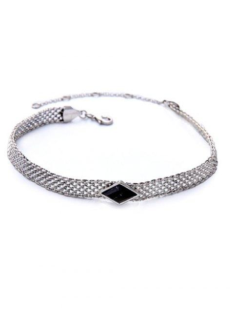 womens Faux Gemstone Geometric Vintage Necklace - BLACK  Mobile