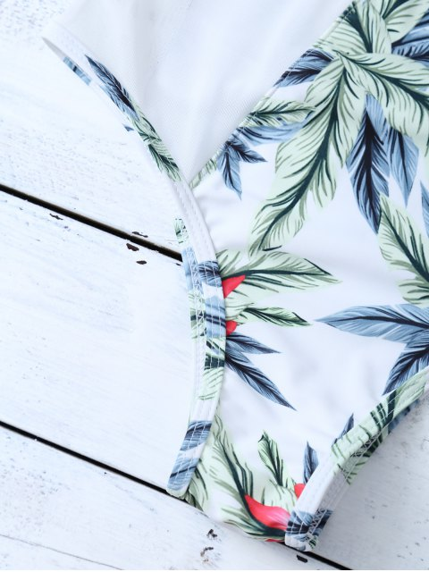 latest One-Piece Swimwear With Tropical Print - WHITE M Mobile