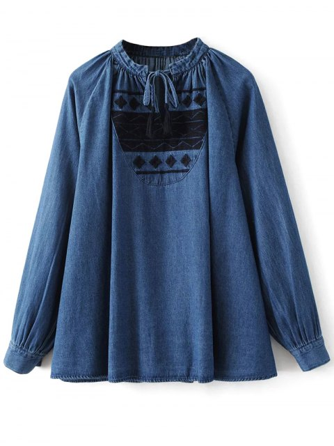 sale Embroidered Bib Swing Denim Blouse - DENIM BLUE S Mobile