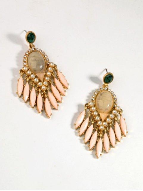 lady Artificial Gemstone Oval Drop Earrings - PINK  Mobile