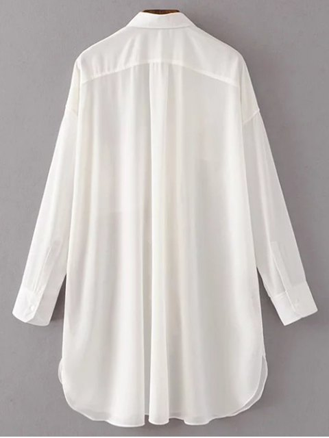 womens Oversized Chiffon Shirt With Frill - WHITE S Mobile