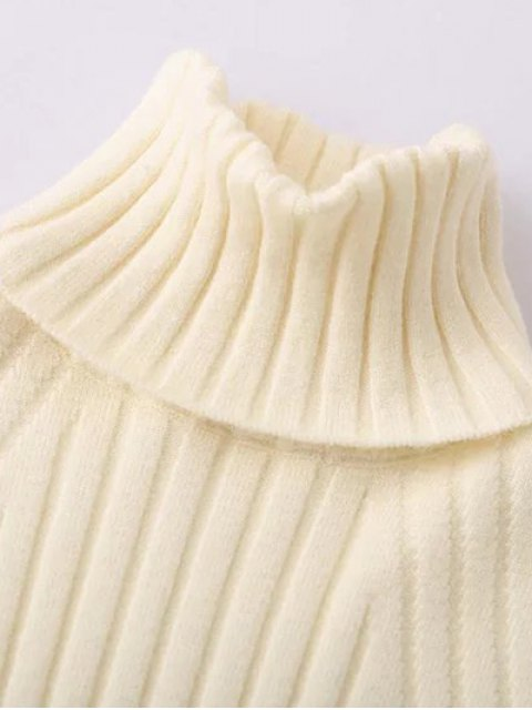 womens Ribbed Roll Neck Jumper - OFF-WHITE ONE SIZE Mobile
