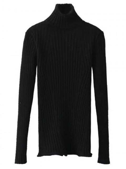 women Ribbed Roll Neck Jumper - BLACK ONE SIZE Mobile