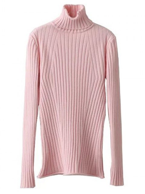 women's Ribbed Roll Neck Jumper - PINK ONE SIZE Mobile