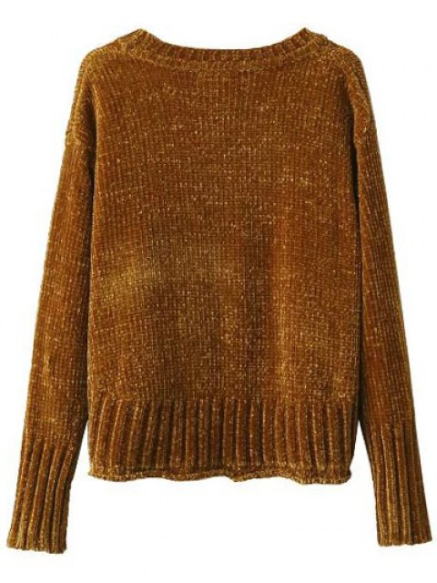 ladies Chenille Oversized Jumper - GOLD BROWN M Mobile