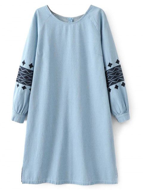 outfits Denim Embroidered Tunic Dress - LIGHT BLUE L Mobile