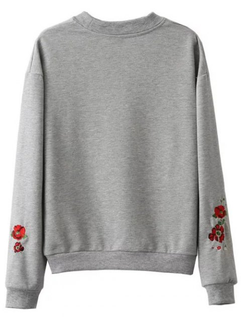 fancy Floral Embroidered Oversized Sweatshirt - GRAY M Mobile
