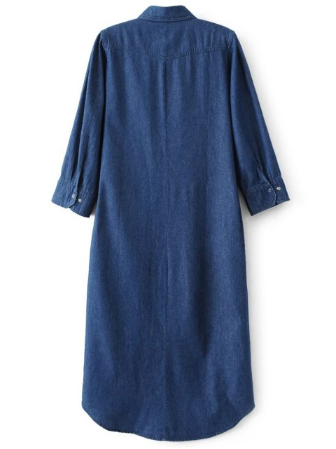 ladies Denim Midi Shirt Dress - DENIM BLUE S Mobile