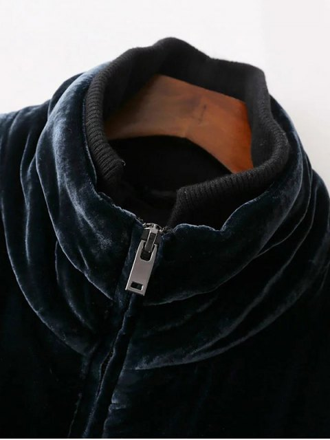 new Layered Collar Velvet Winter Jacket - BLACK S Mobile