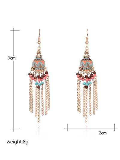 Beads Chain Tassel Drop Earrings - GOLDEN  Mobile