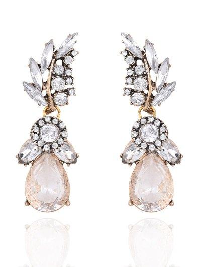 Water Drop Leaf Rhinestone Earrings - WHITE  Mobile