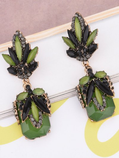 Fake Jade Rhinestone Drop Earrings - GRASS GREEN  Mobile