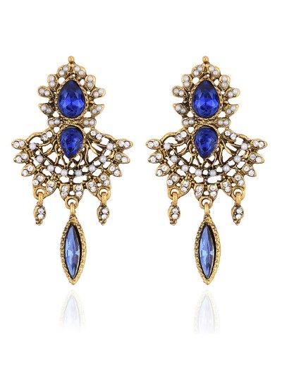 Water Drop Rhinestone Faux Peal Earrings - ROYAL  Mobile
